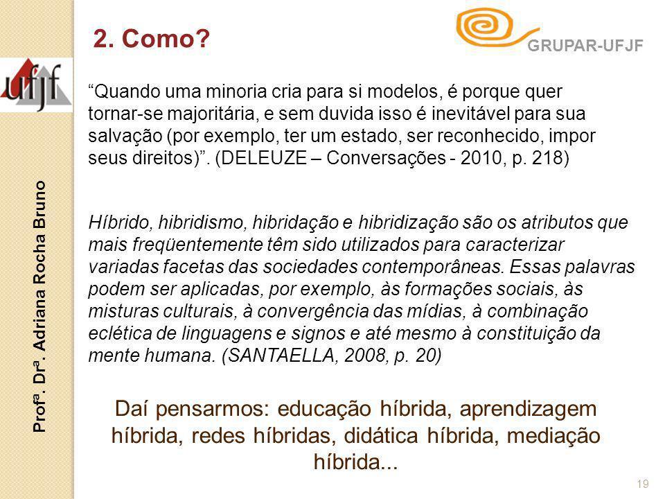 19 GRUPAR-UFJF Profª. Drª. Adriana Rocha Bruno Híbrido, hibridismo, hibridação e hibridização são os atributos que mais freqüentemente têm sido utiliz