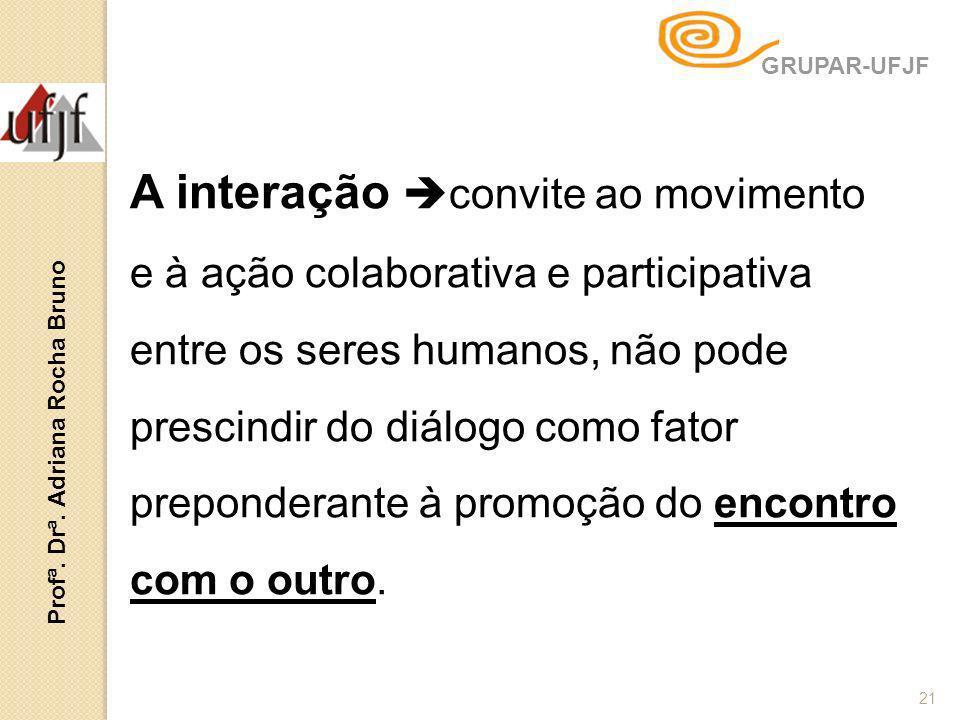 A interação convite ao movimento e à ação colaborativa e participativa entre os seres humanos, não pode prescindir do diálogo como fator preponderante