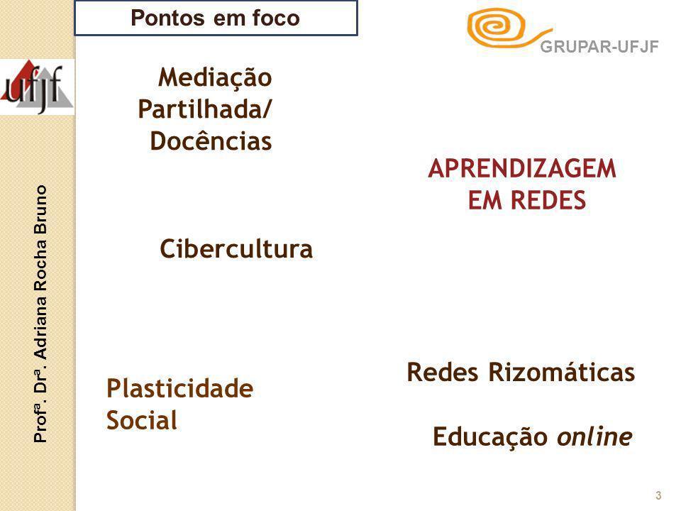 Pontos em foco Mediação Partilhada/ Docências Educação online APRENDIZAGEM EM REDES Profª. Drª. Adriana Rocha Bruno 3 Plasticidade Social Redes Rizomá