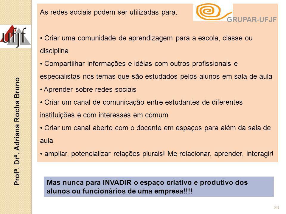Profª. Drª. Adriana Rocha Bruno 30 As redes sociais podem ser utilizadas para: Criar uma comunidade de aprendizagem para a escola, classe ou disciplin