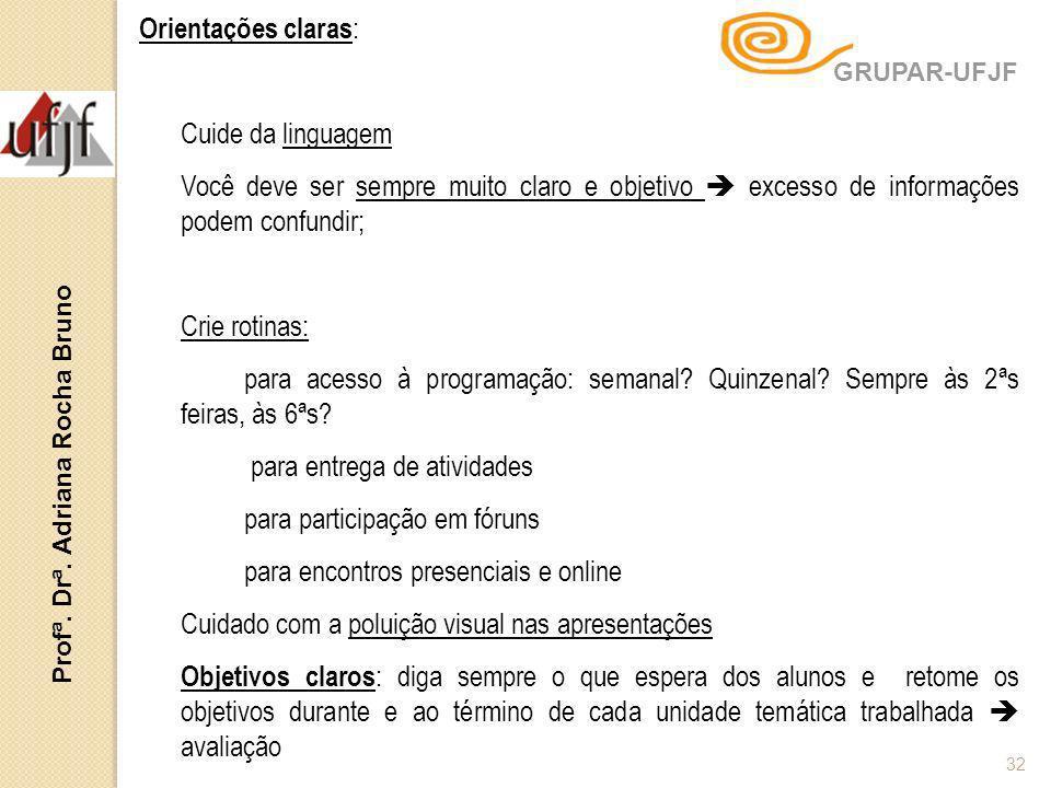 Profª. Drª. Adriana Rocha Bruno 32 Orientações claras : Cuide da linguagem Você deve ser sempre muito claro e objetivo excesso de informações podem co