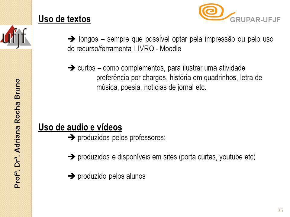 Profª. Drª. Adriana Rocha Bruno 35 Uso de textos longos – sempre que possível optar pela impressão ou pelo uso do recurso/ferramenta LIVRO - Moodle cu