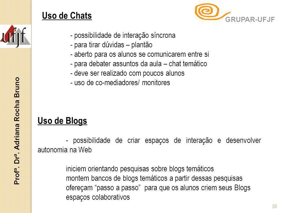 Profª. Drª. Adriana Rocha Bruno 36 Uso de Blogs - possibilidade de criar espaços de interação e desenvolver autonomia na Web iniciem orientando pesqui