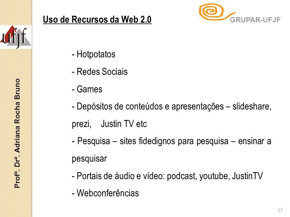 Profª. Drª. Adriana Rocha Bruno 37 Uso de Recursos da Web 2.0 - Hotpotatos - Redes Sociais - Games - Depósitos de conteúdos e apresentações – slidesha