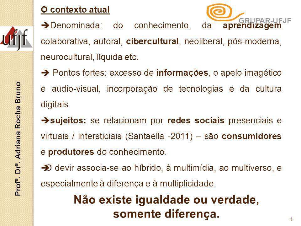 O contexto atual Denominada: do conhecimento, da aprendizagem colaborativa, autoral, cibercultural, neoliberal, pós-moderna, neurocultural, líquida et