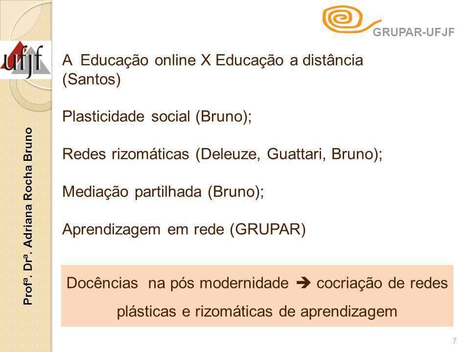 7 A Educação online X Educação a distância (Santos) Plasticidade social (Bruno); Redes rizomáticas (Deleuze, Guattari, Bruno); Mediação partilhada (Br