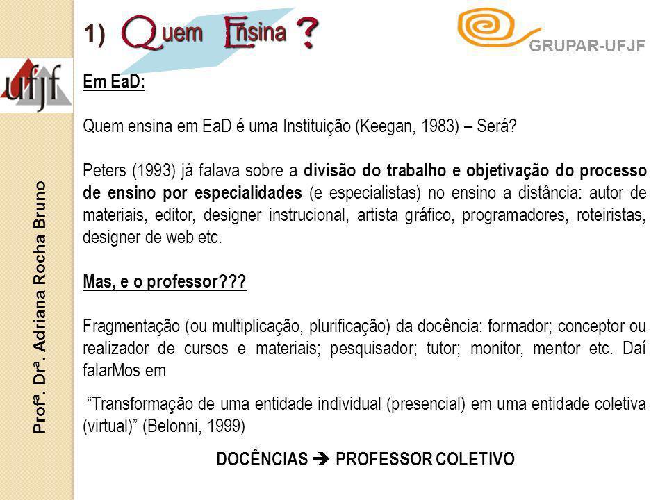 Em EaD: Quem ensina em EaD é uma Instituição (Keegan, 1983) – Será? Peters (1993) já falava sobre a divisão do trabalho e objetivação do processo de e