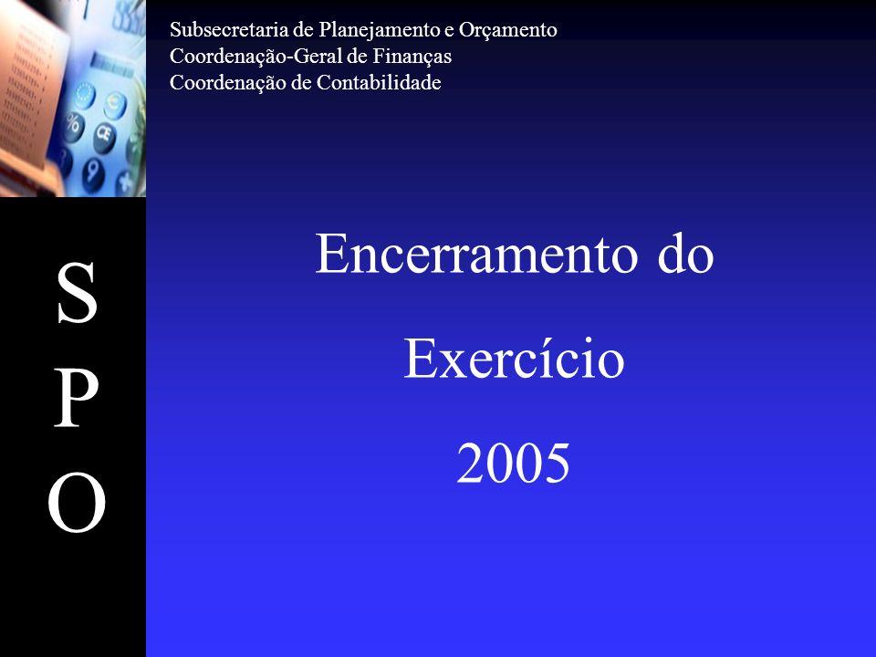 SPOSPO Encerramento do Exercício 2005 Subsecretaria de Planejamento e Orçamento Coordenação-Geral de Finanças Coordenação de Contabilidade