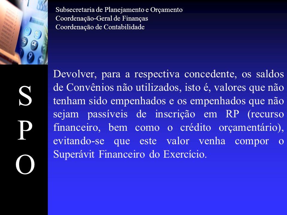 SPOSPO Subsecretaria de Planejamento e Orçamento Coordenação-Geral de Finanças Coordenação de Contabilidade Devolver, para a respectiva concedente, os