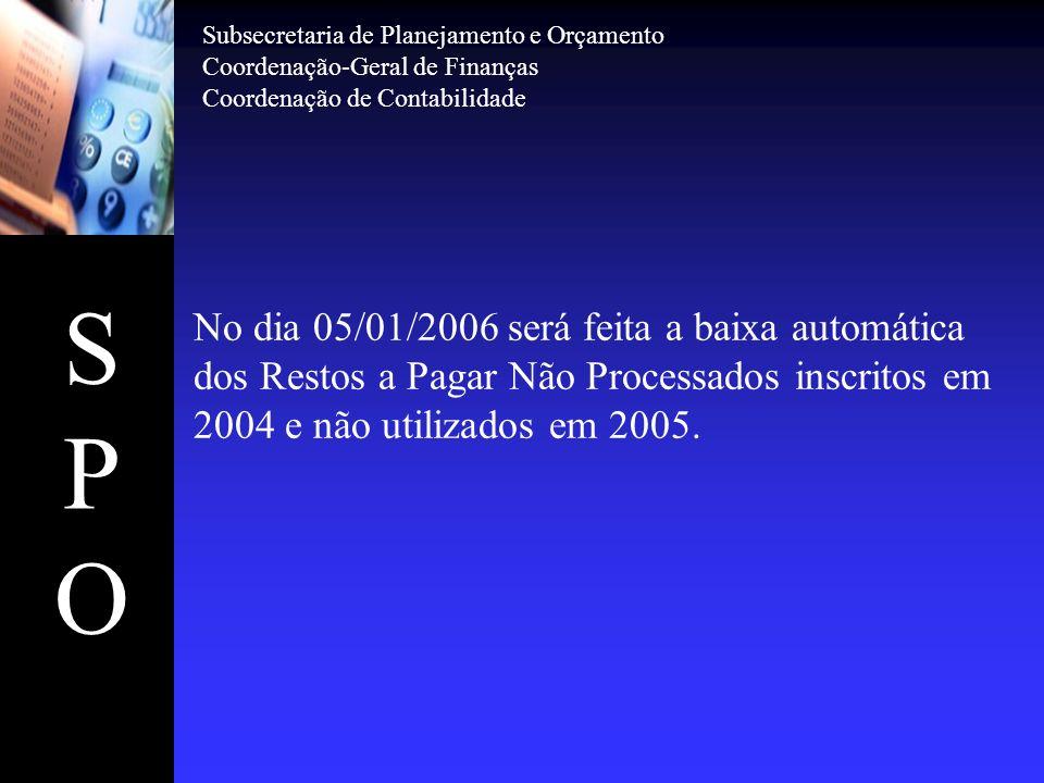 SPOSPO No dia 05/01/2006 será feita a baixa automática dos Restos a Pagar Não Processados inscritos em 2004 e não utilizados em 2005. Subsecretaria de
