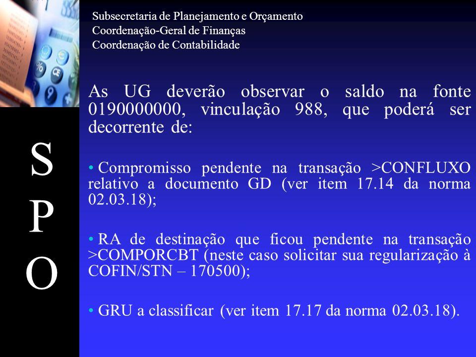 SPOSPO As UG deverão observar o saldo na fonte 0190000000, vinculação 988, que poderá ser decorrente de: Compromisso pendente na transação >CONFLUXO r