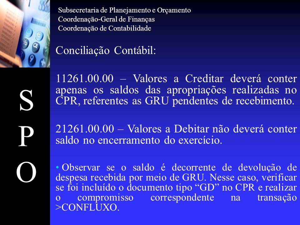 SPOSPO Conciliação Contábil: 11261.00.00 – Valores a Creditar deverá conter apenas os saldos das apropriações realizadas no CPR, referentes as GRU pen
