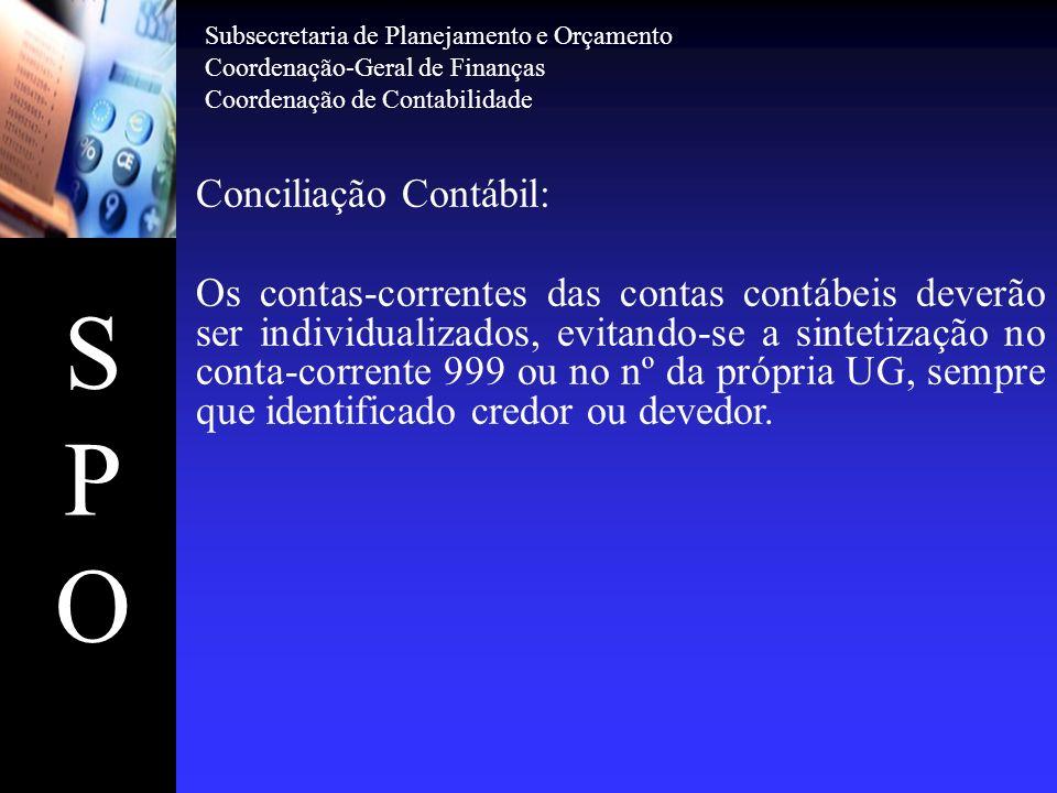 SPOSPO Conciliação Contábil: Os contas-correntes das contas contábeis deverão ser individualizados, evitando-se a sintetização no conta-corrente 999 o