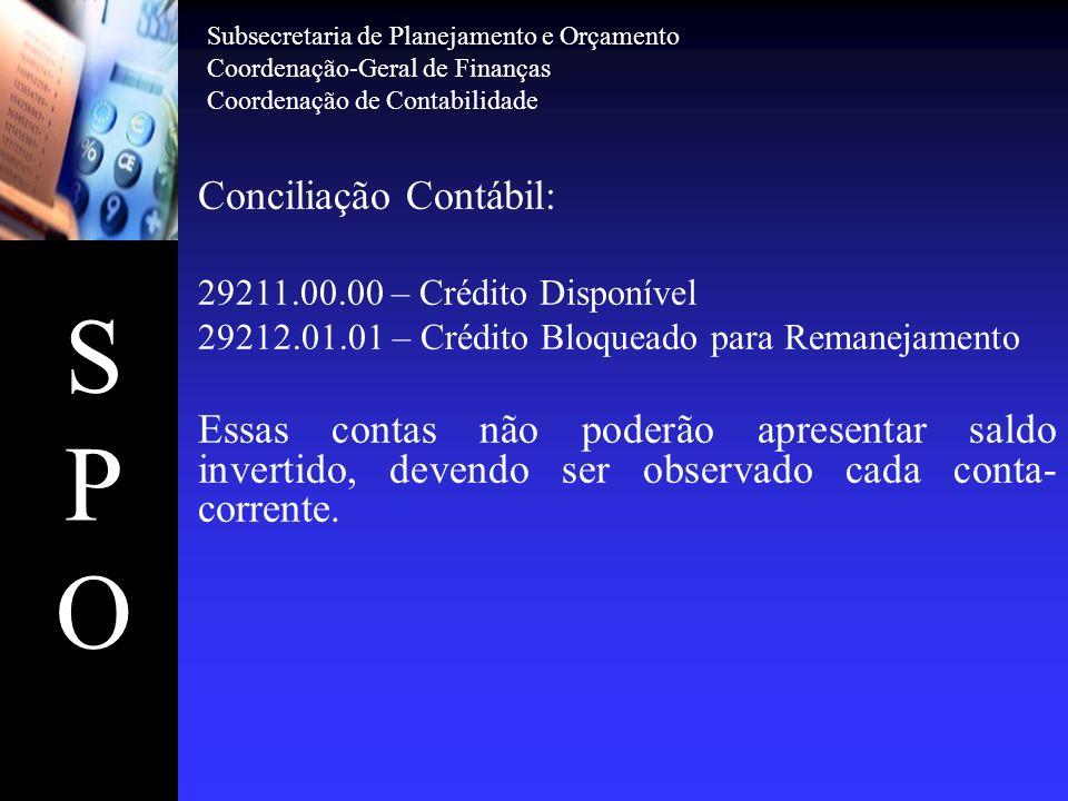 SPOSPO Subsecretaria de Planejamento e Orçamento Coordenação-Geral de Finanças Coordenação de Contabilidade Conciliação Contábil: 2.9.2.1.3.02.00 – Crédito Liquidado = 3.0.0.0.0.00.00 – DESPESA Deverão ser iguais entre si por ocasião do encerramento do exercício.