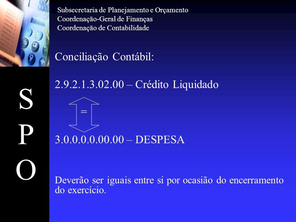 SPOSPO Conciliação Contábil: Essas contas representarão os valores correspondentes a tributos a serem recolhidos nos respectivos prazos legais e manterão correlação de igualdade entre ativo compensado e passivo circulante da seguinte forma: DARF 1.9.3.2.1.05.012.1.1.2.3.01.00 GPS 1.9.3.2.1.06.012.1.1.2.3.02.00 DAR 1.9.3.2.1.08.012.1.1.2.3.03.00 GRU 1.9.3.2.1.11.012.1.1.2.3.07.00 Subsecretaria de Planejamento e Orçamento Coordenação-Geral de Finanças Coordenação de Contabilidade