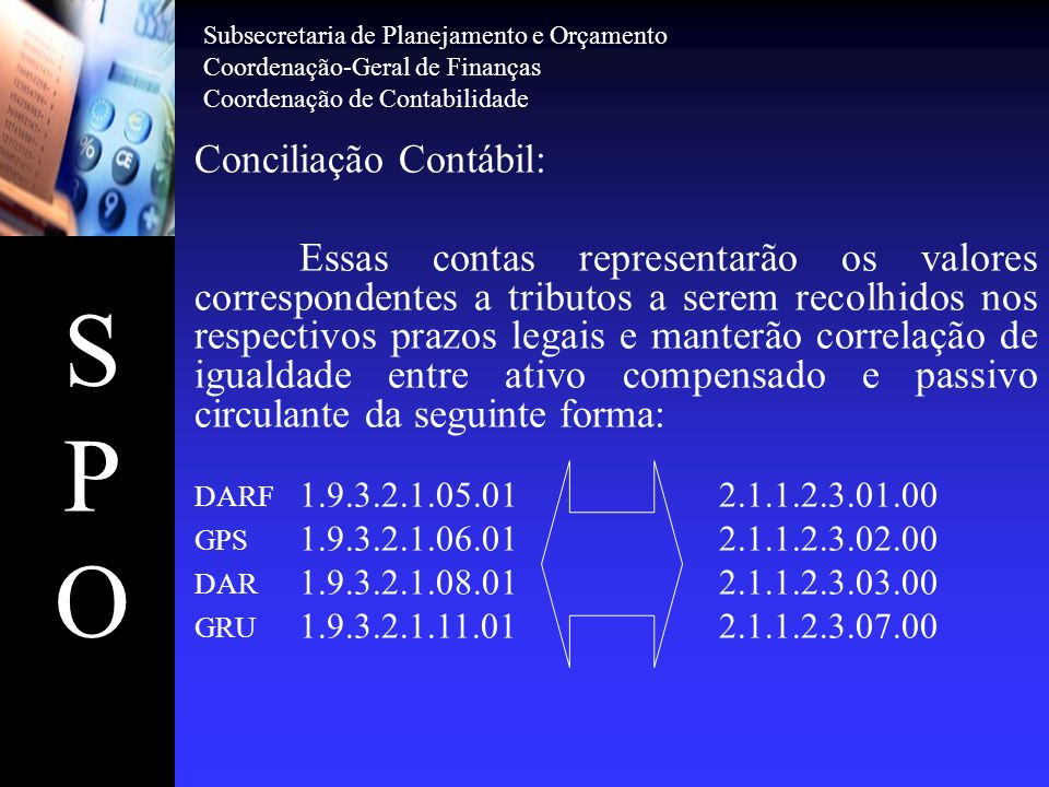 SPOSPO Conta 19321.05.01 – DARF a Emitir, conforme prazo legal estabelecido: - PJ (CNPJ) - até o 3º dia útil após o fato gerador; -PF (CPF) - até o 3º dia útil da semana subseqüente ao fato gerador.
