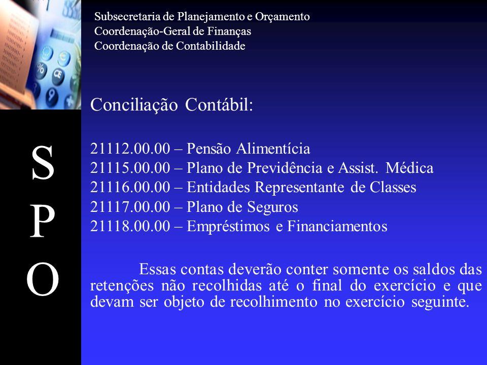 SPOSPO Conciliação Contábil: 21112.00.00 – Pensão Alimentícia 21115.00.00 – Plano de Previdência e Assist. Médica 21116.00.00 – Entidades Representant