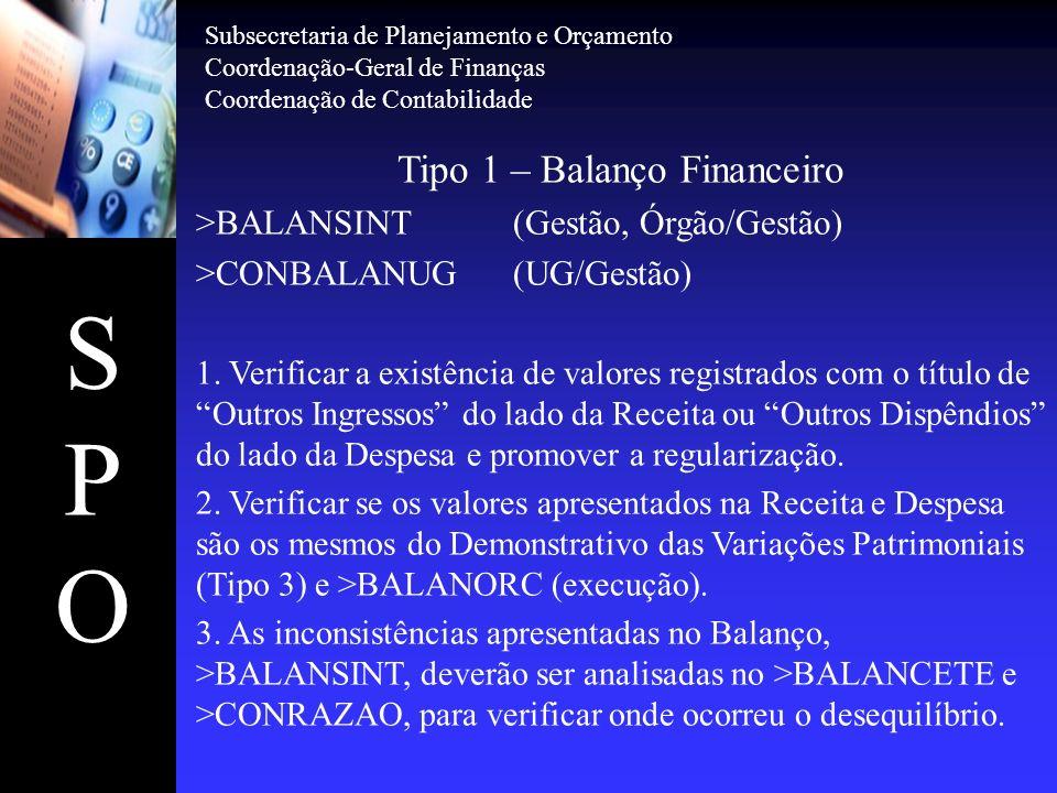 SPOSPO Tipo 1 – Balanço Financeiro >BALANSINT(Gestão, Órgão/Gestão) >CONBALANUG(UG/Gestão) 1. Verificar a existência de valores registrados com o títu