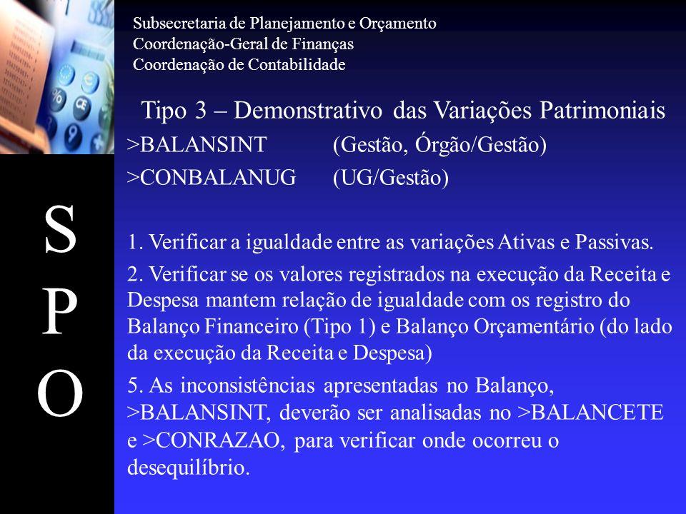 SPOSPO Tipo 3 – Demonstrativo das Variações Patrimoniais >BALANSINT(Gestão, Órgão/Gestão) >CONBALANUG(UG/Gestão) 1. Verificar a igualdade entre as var