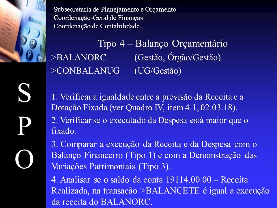 SPOSPO Tipo 4 – Balanço Orçamentário >BALANORC(Gestão, Órgão/Gestão) >CONBALANUG(UG/Gestão) 1. Verificar a igualdade entre a previsão da Receita e a D