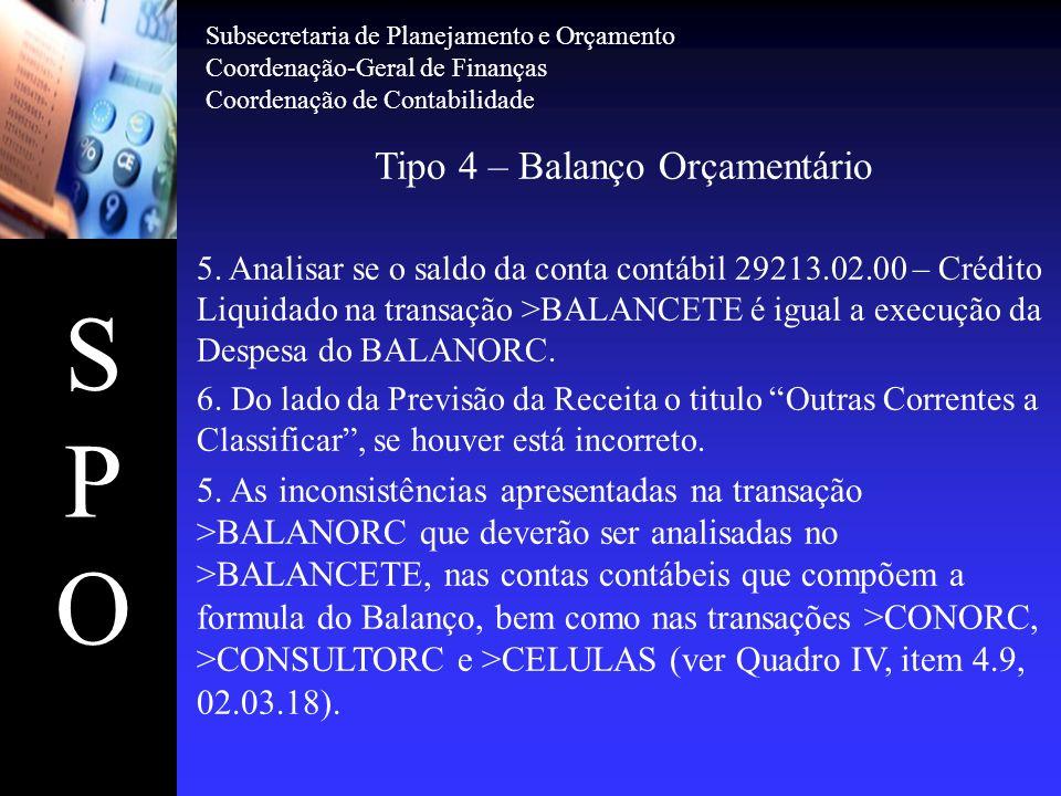 SPOSPO Tipo 5 – Demonstrativo das Disponibilidades por Fonte de Recursos >BALANSINT(Gestão, Órgão/Gestão) >CONBALANUG(UG/Gestão) 1.