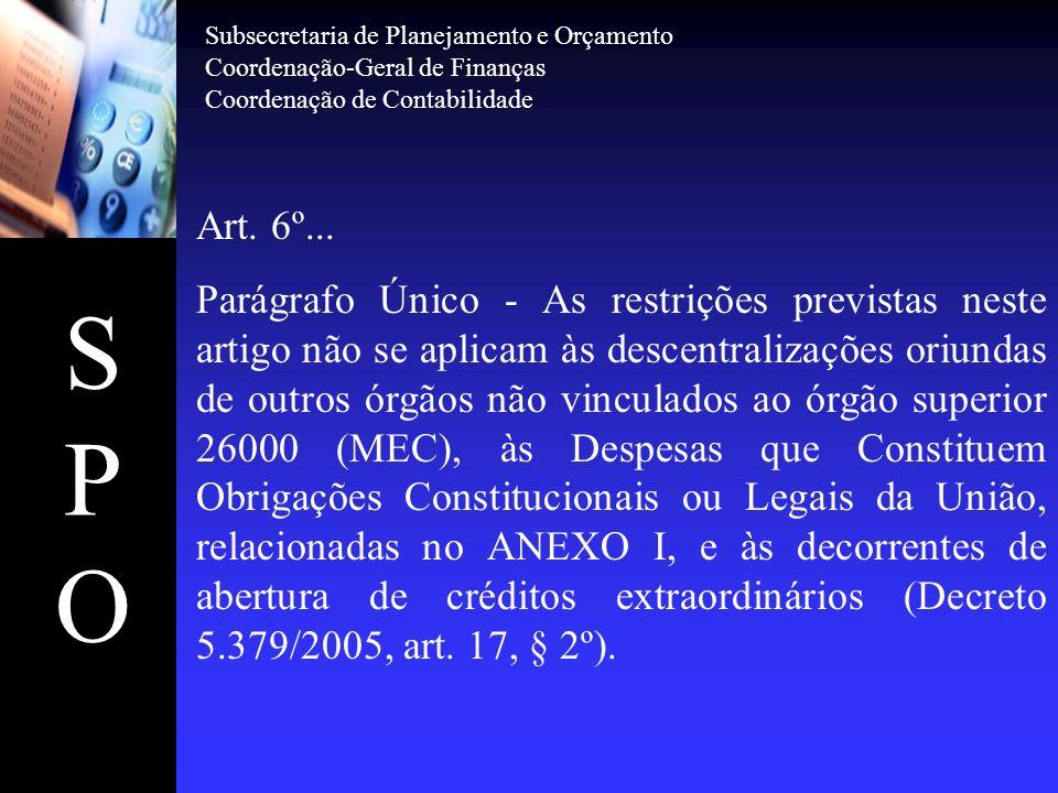 SPOSPO Art. 6º... Parágrafo Único - As restrições previstas neste artigo não se aplicam às descentralizações oriundas de outros órgãos não vinculados