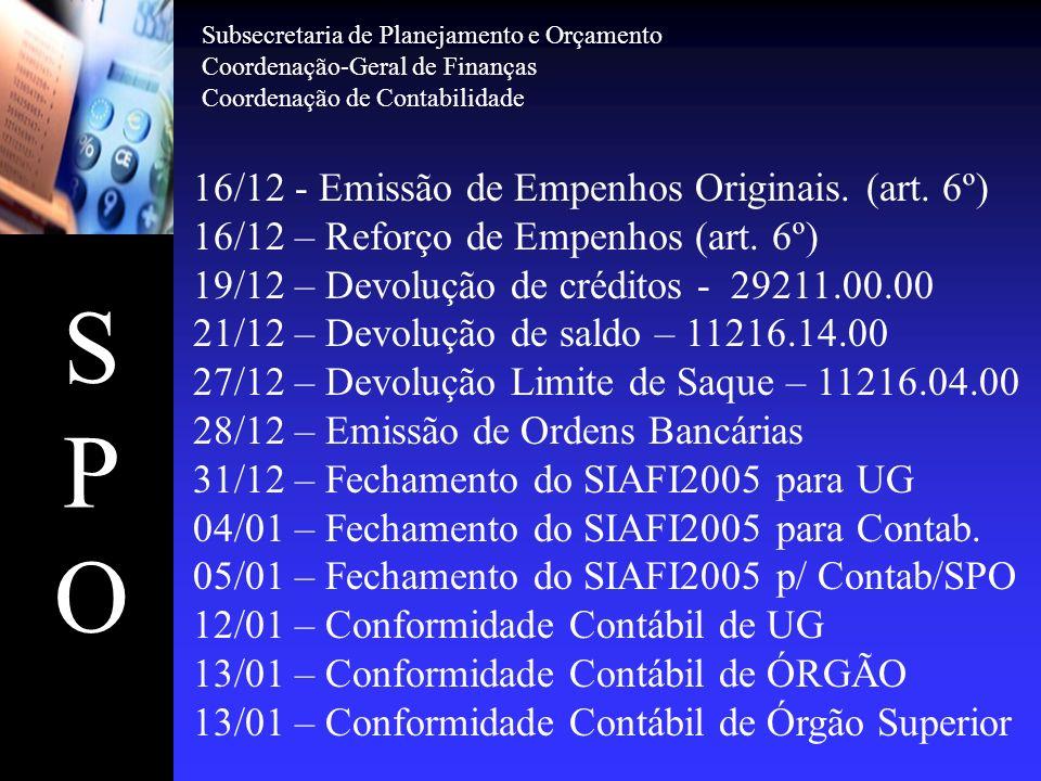 SPOSPO 16/12 - Emissão de Empenhos Originais. (art. 6º) 16/12 – Reforço de Empenhos (art. 6º) 19/12 – Devolução de créditos - 29211.00.00 21/12 – Devo