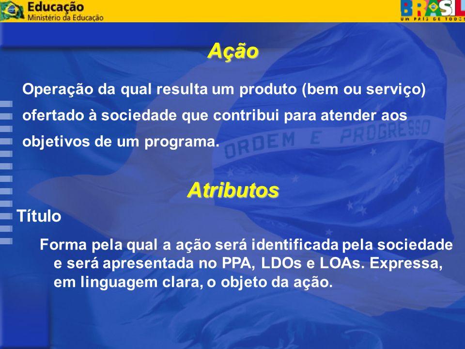 Ação Operação da qual resulta um produto (bem ou serviço) ofertado à sociedade que contribui para atender aos objetivos de um programa.