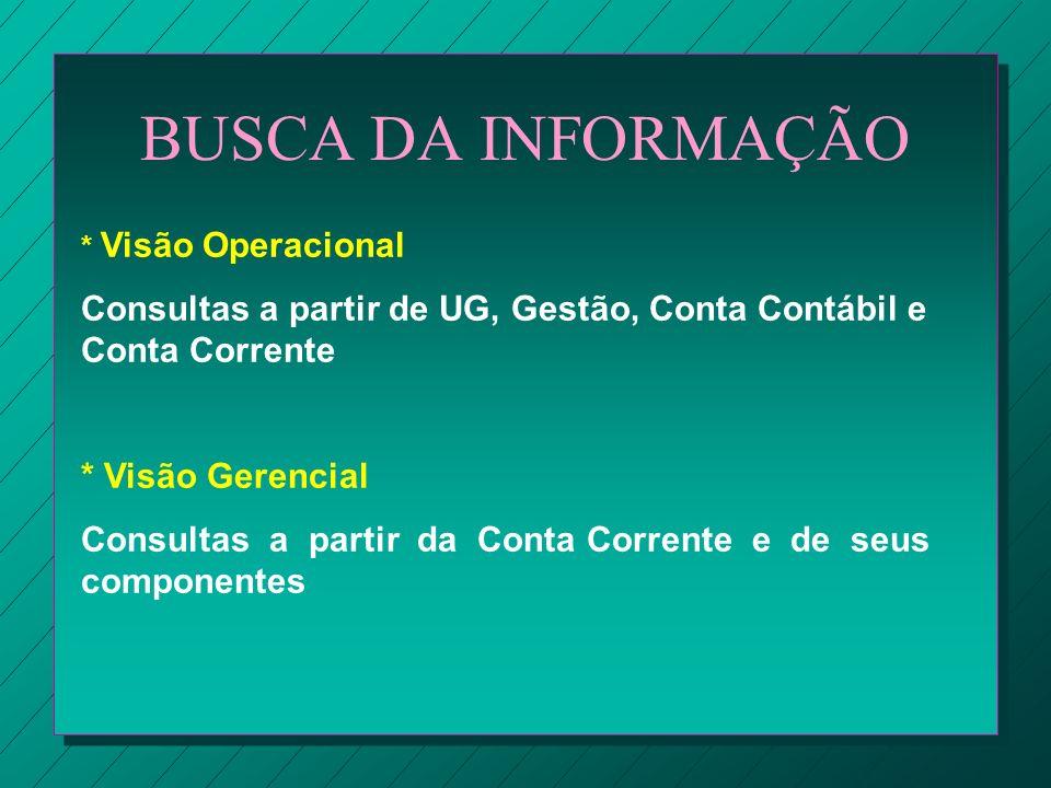 BUSCA DA INFORMAÇÃO * Visão Operacional Consultas a partir de UG, Gestão, Conta Contábil e Conta Corrente * Visão Gerencial Consultas a partir da Cont