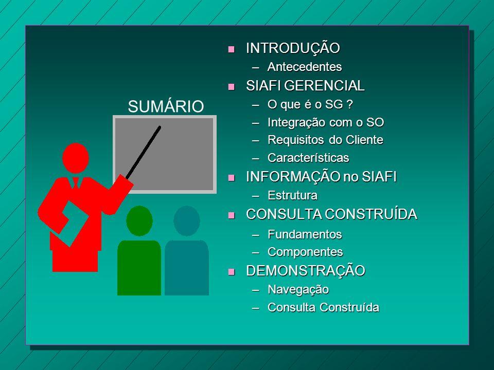 SUMÁRIO n INTRODUÇÃO –Antecedentes n SIAFI GERENCIAL –O que é o SG ? –Integração com o SO –Requisitos do Cliente –Características n INFORMAÇÃO no SIAF