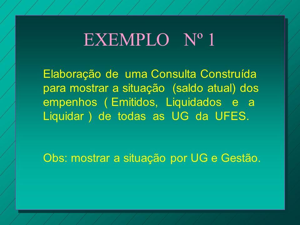 EXEMPLO Nº 1 Elaboração de uma Consulta Construída para mostrar a situação (saldo atual) dos empenhos ( Emitidos, Liquidados e a Liquidar ) de todas a