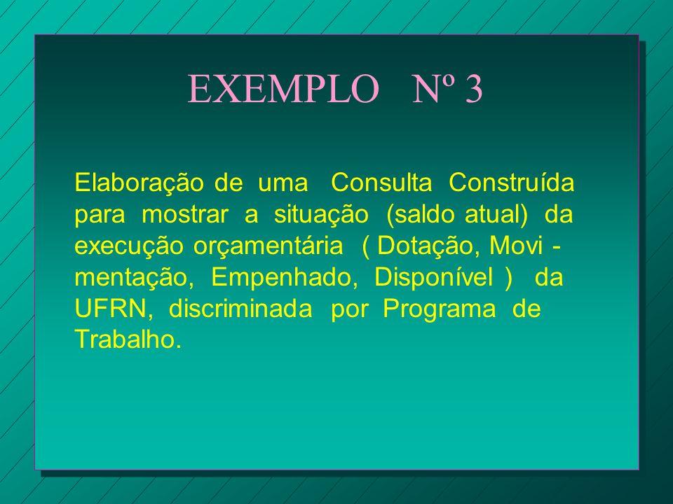 EXEMPLO Nº 3 Elaboração de uma Consulta Construída para mostrar a situação (saldo atual) da execução orçamentária ( Dotação, Movi - mentação, Empenhad