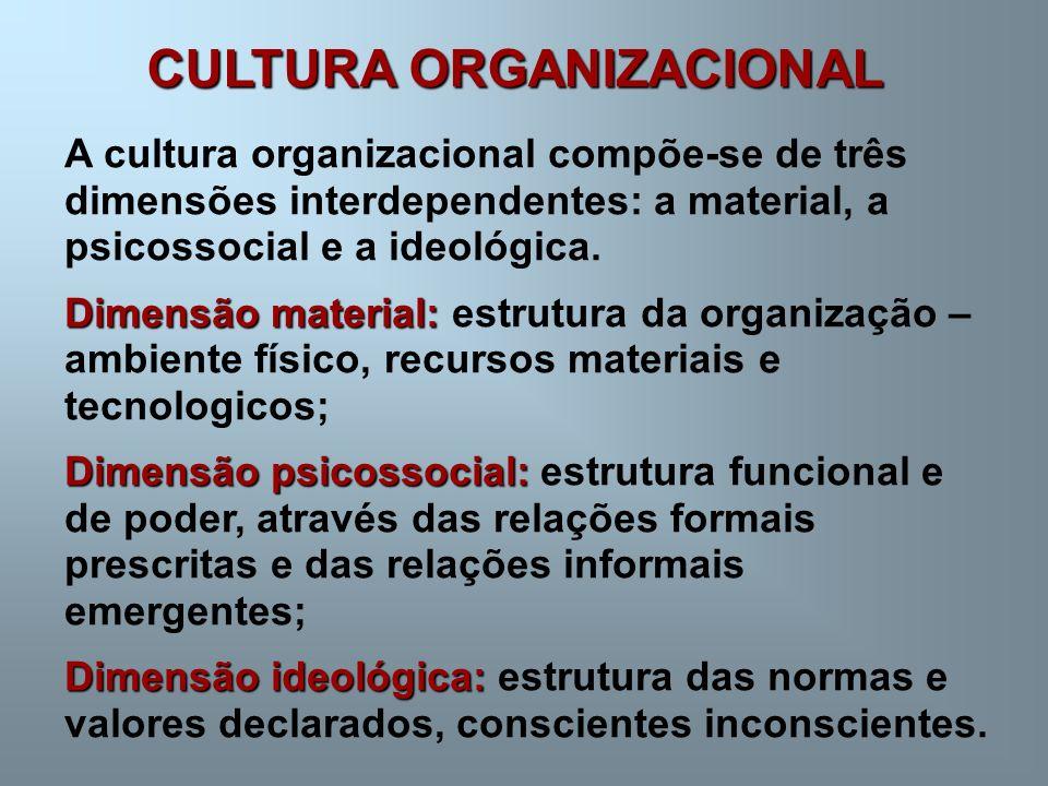 CULTURA ORGANIZACIONAL A cultura organizacional compõe-se de três dimensões interdependentes: a material, a psicossocial e a ideológica. Dimensão mate