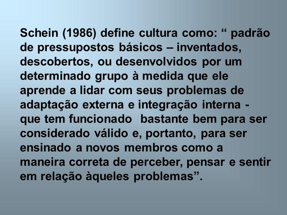 Schein (1986) define cultura como: padrão de pressupostos básicos – inventados, descobertos, ou desenvolvidos por um determinado grupo à medida que el