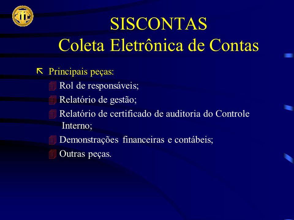 SISCONTAS Coleta Eletrônica de Contas Principais peças: Rol de responsáveis; Relatório de gestão; Relatório de certificado de auditoria do Controle Interno; Demonstrações financeiras e contábeis; Outras peças.