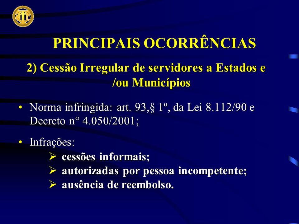 PRINCIPAIS OCORRÊNCIAS 2) Cessão Irregular de servidores a Estados e /ou Municípios Norma infringida: art.