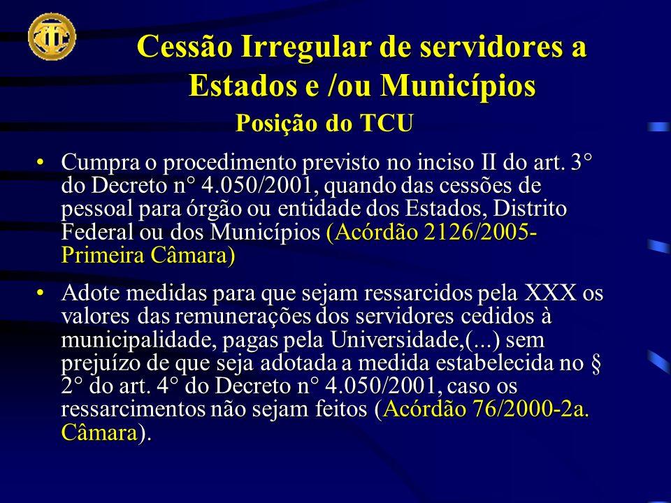 Cessão Irregular de servidores a Estados e /ou Municípios Posição do TCU Cumpra o procedimento previsto no inciso II do art.