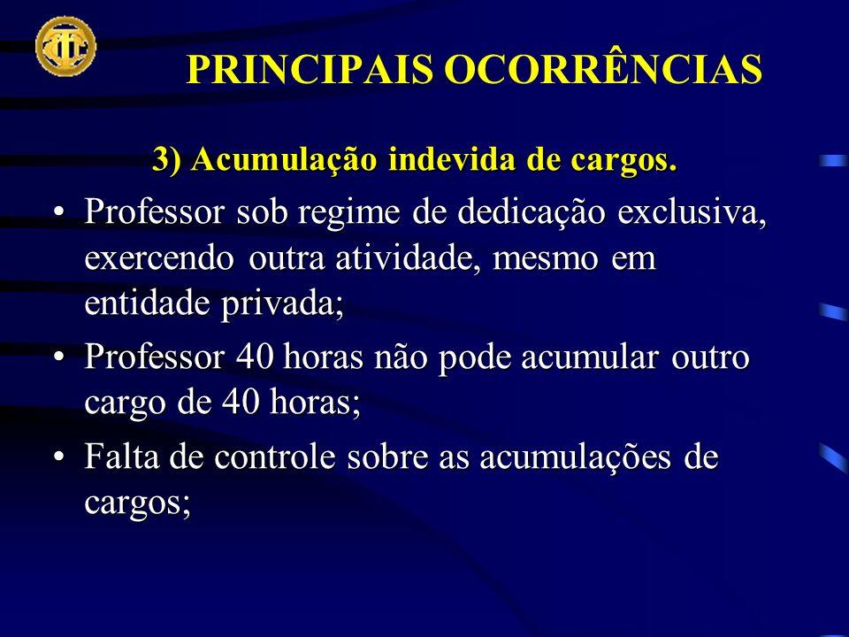 PRINCIPAIS OCORRÊNCIAS 3) Acumulação indevida de cargos.