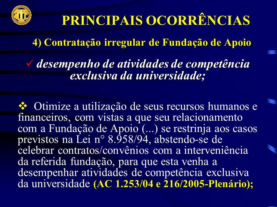 PRINCIPAIS OCORRÊNCIAS 4) Contratação irregular de Fundação de Apoio desempenho de atividades de competência exclusiva da universidade; desempenho de atividades de competência exclusiva da universidade; (AC 1.253/04 e 216/2005-Plenário); Otimize a utilização de seus recursos humanos e financeiros, com vistas a que seu relacionamento com a Fundação de Apoio (...) se restrinja aos casos previstos na Lei n° 8.958/94, abstendo-se de celebrar contratos/convênios com a interveniência da referida fundação, para que esta venha a desempenhar atividades de competência exclusiva da universidade (AC 1.253/04 e 216/2005-Plenário);