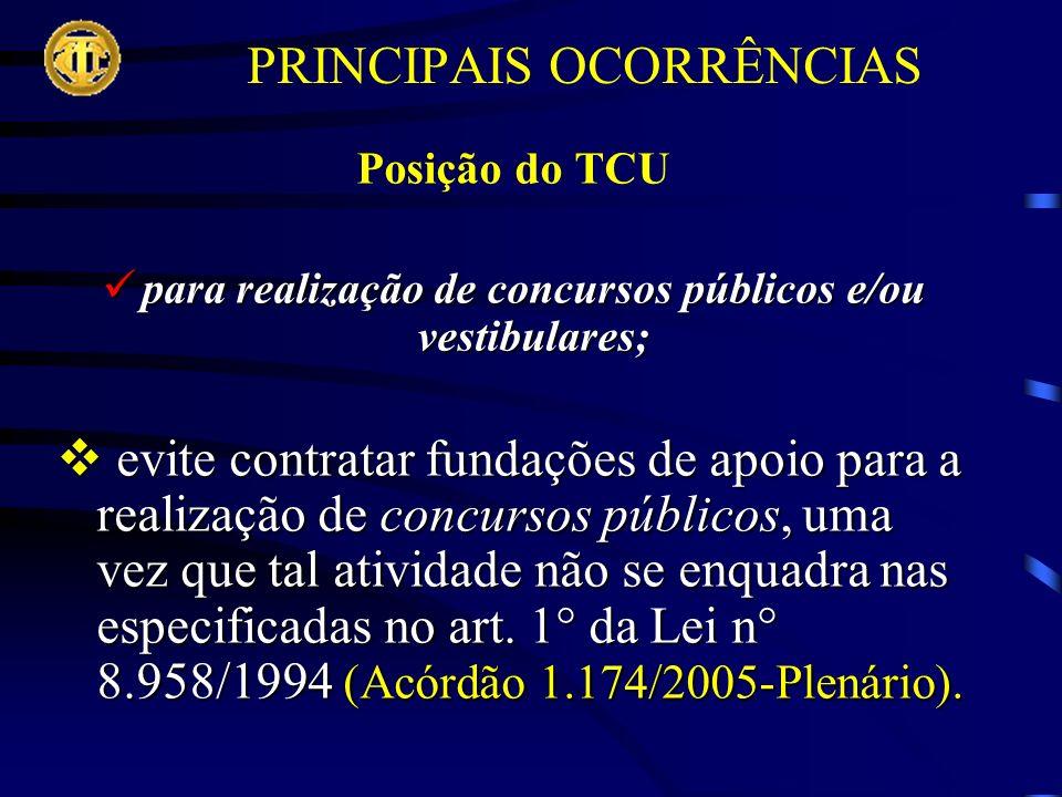 PRINCIPAIS OCORRÊNCIAS Posição do TCU para realização de concursos públicos e/ou vestibulares; para realização de concursos públicos e/ou vestibulares; evite contratar fundações de apoio para a realização de concursos públicos, uma vez que tal atividade não se enquadra nas especificadas no art.