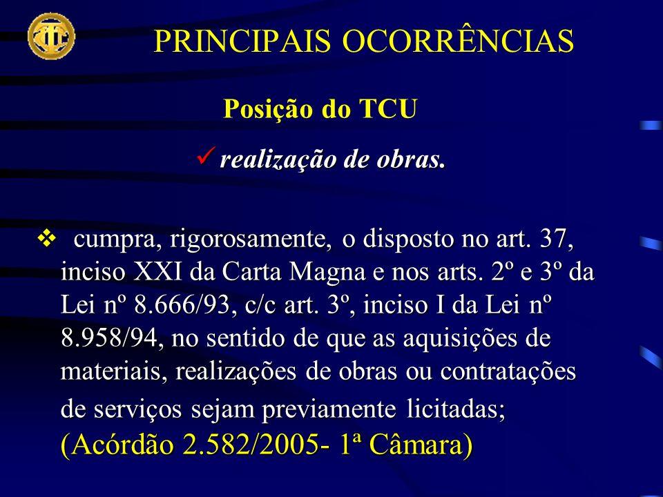 PRINCIPAIS OCORRÊNCIAS Posição do TCU realização de obras.