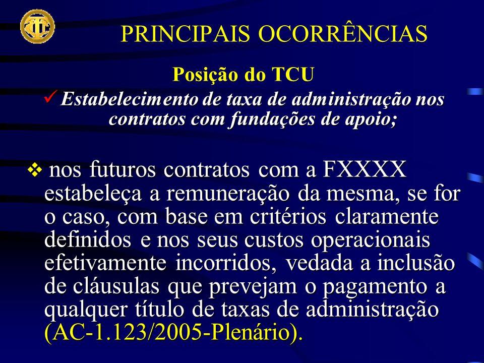 PRINCIPAIS OCORRÊNCIAS Posição do TCU Estabelecimento de taxa de administração nos contratos com fundações de apoio; Estabelecimento de taxa de administração nos contratos com fundações de apoio; nos futuros contratos com a FXXXX estabeleça a remuneração da mesma, se for o caso, com base em critérios claramente definidos e nos seus custos operacionais efetivamente incorridos, vedada a inclusão de cláusulas que prevejam o pagamento a qualquer título de taxas de administração (AC-1.123/2005-Plenário).