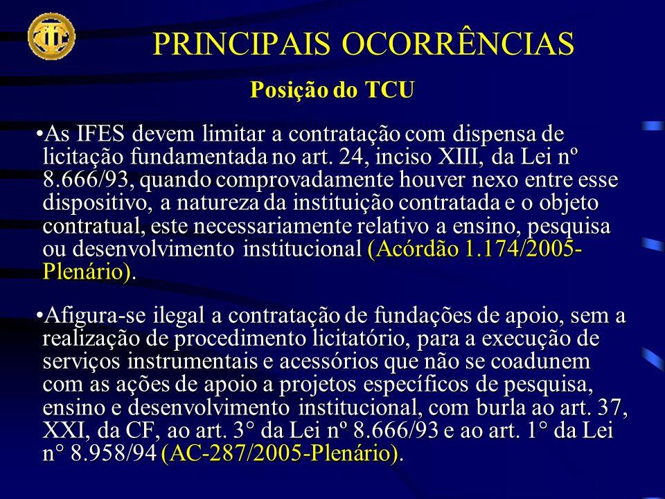PRINCIPAIS OCORRÊNCIAS Posição do TCU As IFES devem limitar a contratação com dispensa de licitação fundamentada no art.