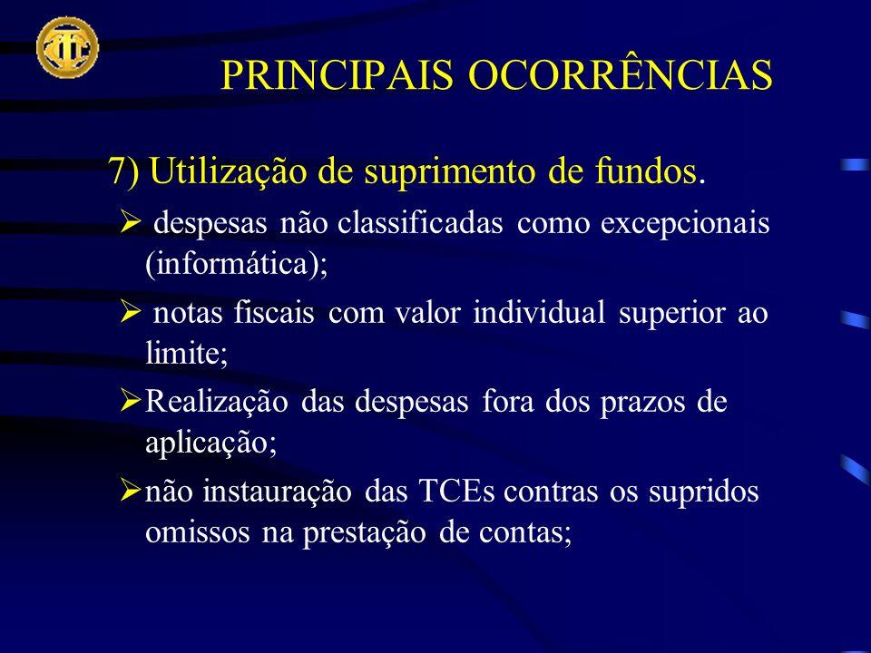 7) Utilização de suprimento de fundos.