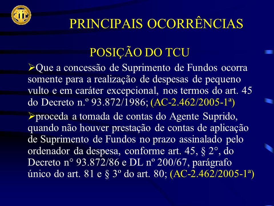POSIÇÃO DO TCU Que a concessão de Suprimento de Fundos ocorra somente para a realização de despesas de pequeno vulto e em caráter excepcional, nos termos do art.