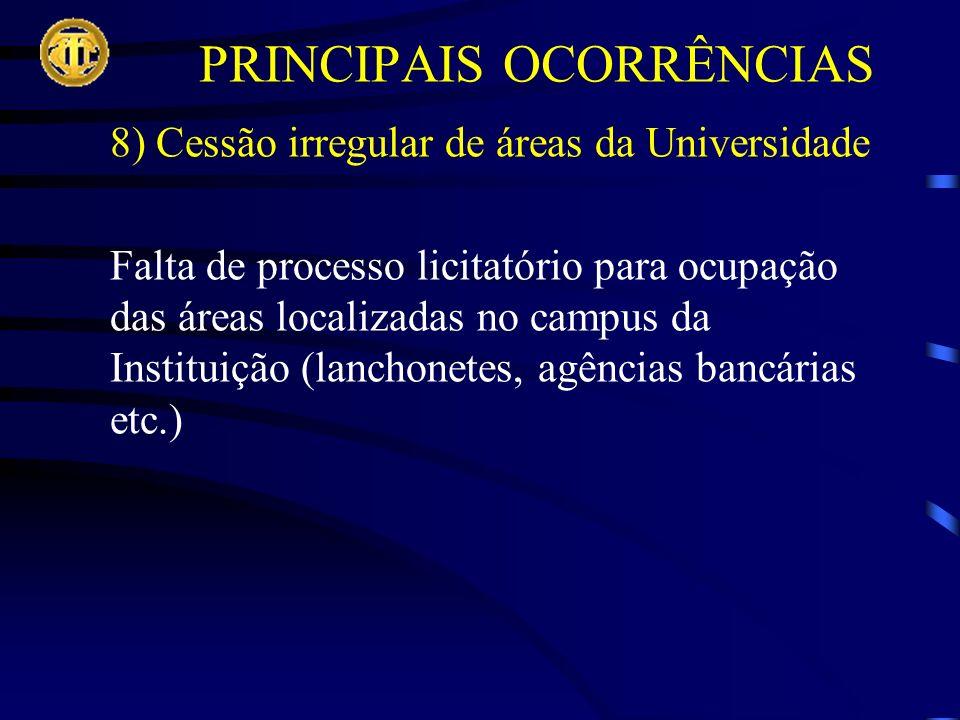 8) Cessão irregular de áreas da Universidade Falta de processo licitatório para ocupação das áreas localizadas no campus da Instituição (lanchonetes, agências bancárias etc.)
