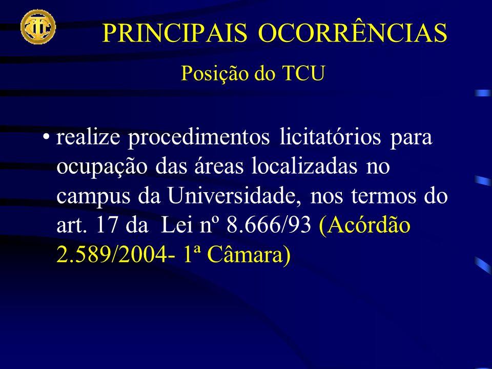 PRINCIPAIS OCORRÊNCIAS Posição do TCU realize procedimentos licitatórios para ocupação das áreas localizadas no campus da Universidade, nos termos do art.