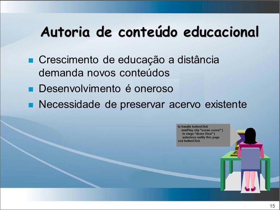 15 Autoria de conteúdo educacional n Crescimento de educação a distância demanda novos conteúdos n Desenvolvimento é oneroso n Necessidade de preservar acervo existente