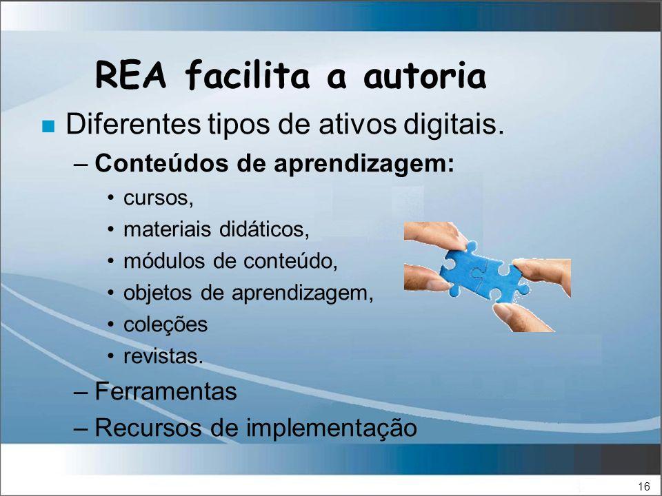 16 REA facilita a autoria n Diferentes tipos de ativos digitais.