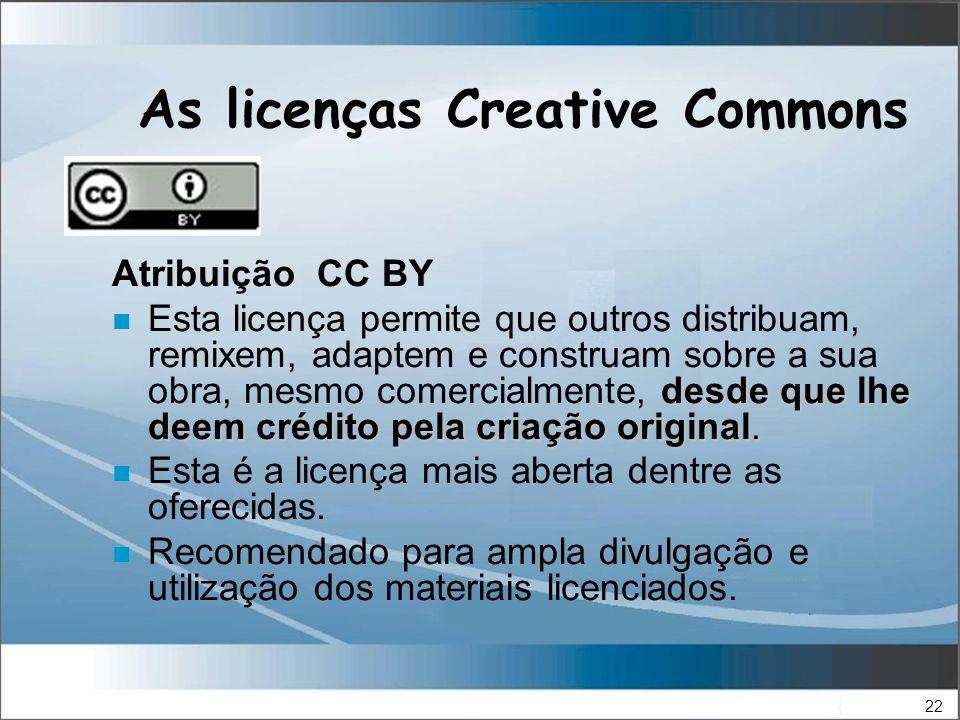22 As licenças Creative Commons Atribuição CC BY desde que lhe deem crédito pela criação original.